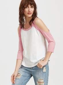 Camiseta manga raglán con hombros al aire