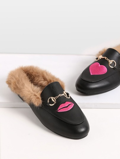 Black Embroidered PU Fur Trim Loafer Slippers