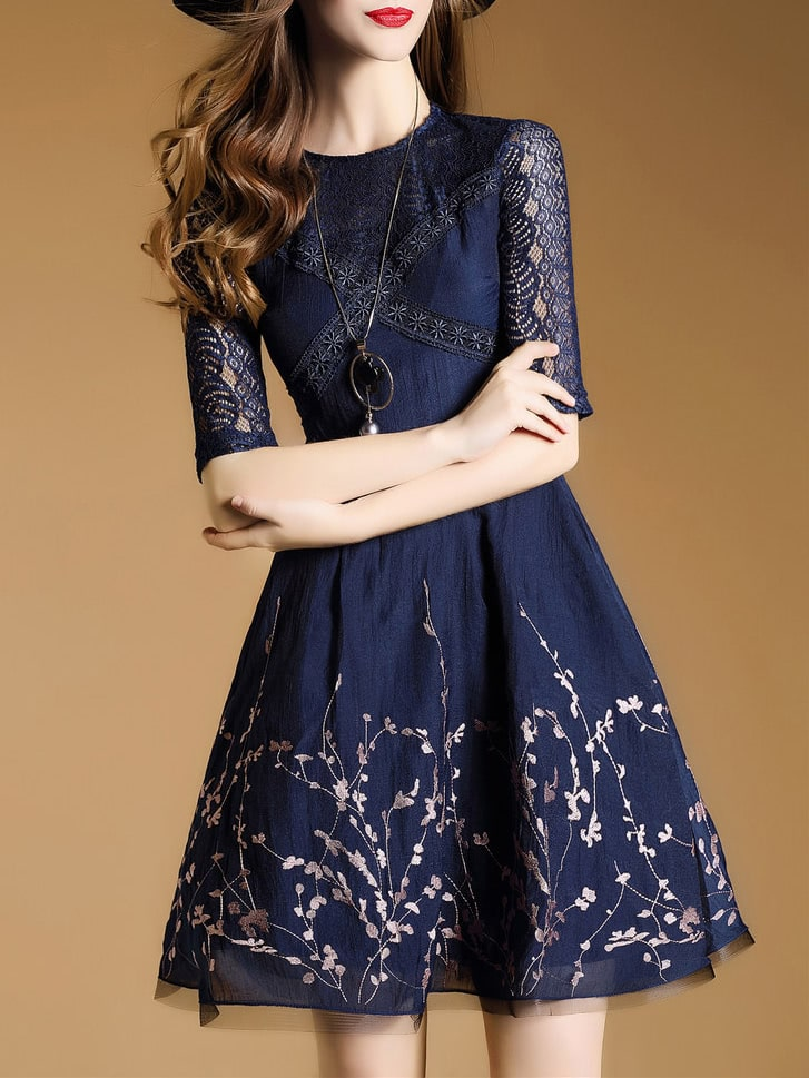 Фото Navy Embroidered Mesh A-Line Dress. Купить с доставкой