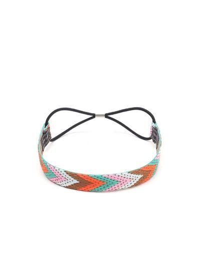 Multicolor Braided Chevron Pattern Headband