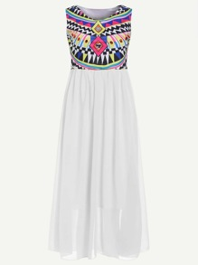 White Geometric Print Sleeveless Dress