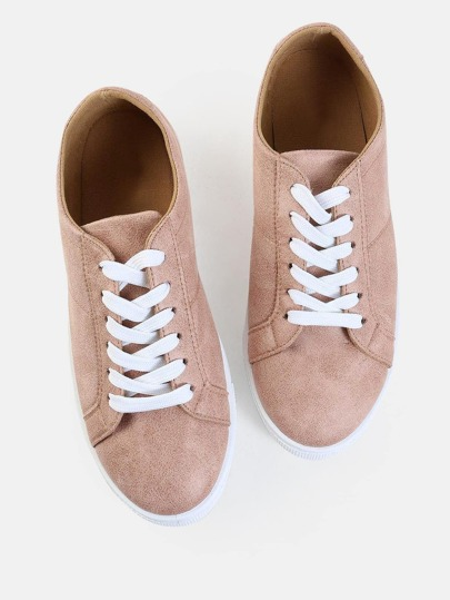 Distressed Round Toe Sneakers BLUSH