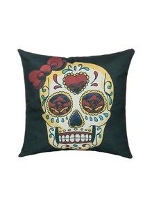 Funda de almohada estilo gótico con estampado cráneo y rosa