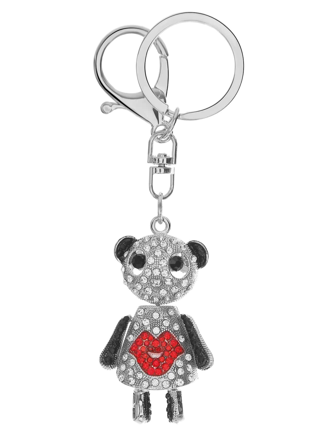 Rhinestone Detail Panda Pendant Keychain