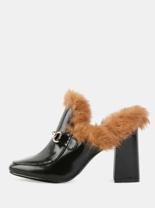 Faux Fur Loafer Heels BLACK