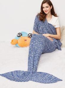 Blue Marled Square Knit Mermaid Tail Blanket