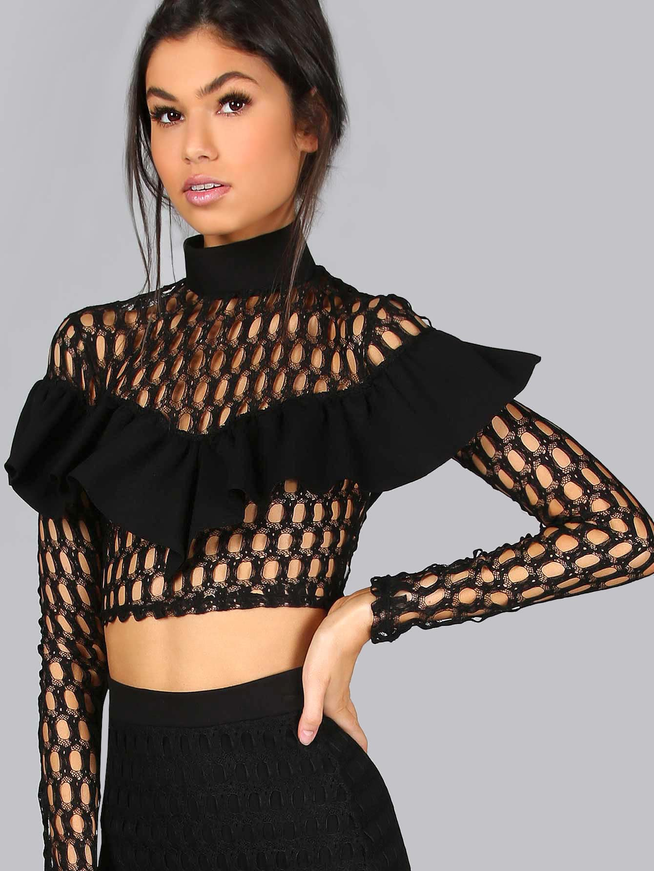 Фото Mock Neck Frilled Netted Lace Crop Top. Купить с доставкой