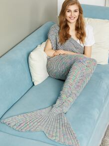 Multicolor Marled Wave Knit Eyelet Mermaid Tail Blanket