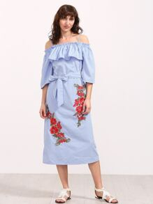 Blue Striped Embroidered Rose Applique Cold Shoulder Dress