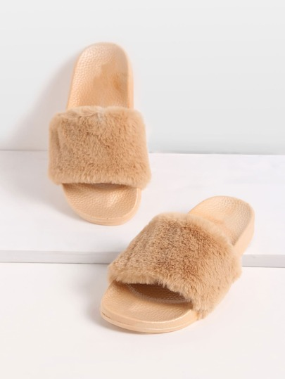 Khaki Rabbit Hair Soft Sole Flat Slippers