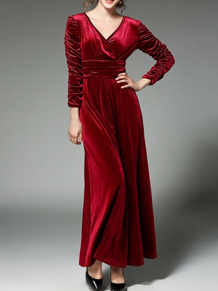 Фото Burgundy V Neck Velvet Maxi Dress. Купить с доставкой