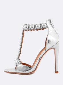 Open Toe Metallic Beaded T-Strap Heels SILVER