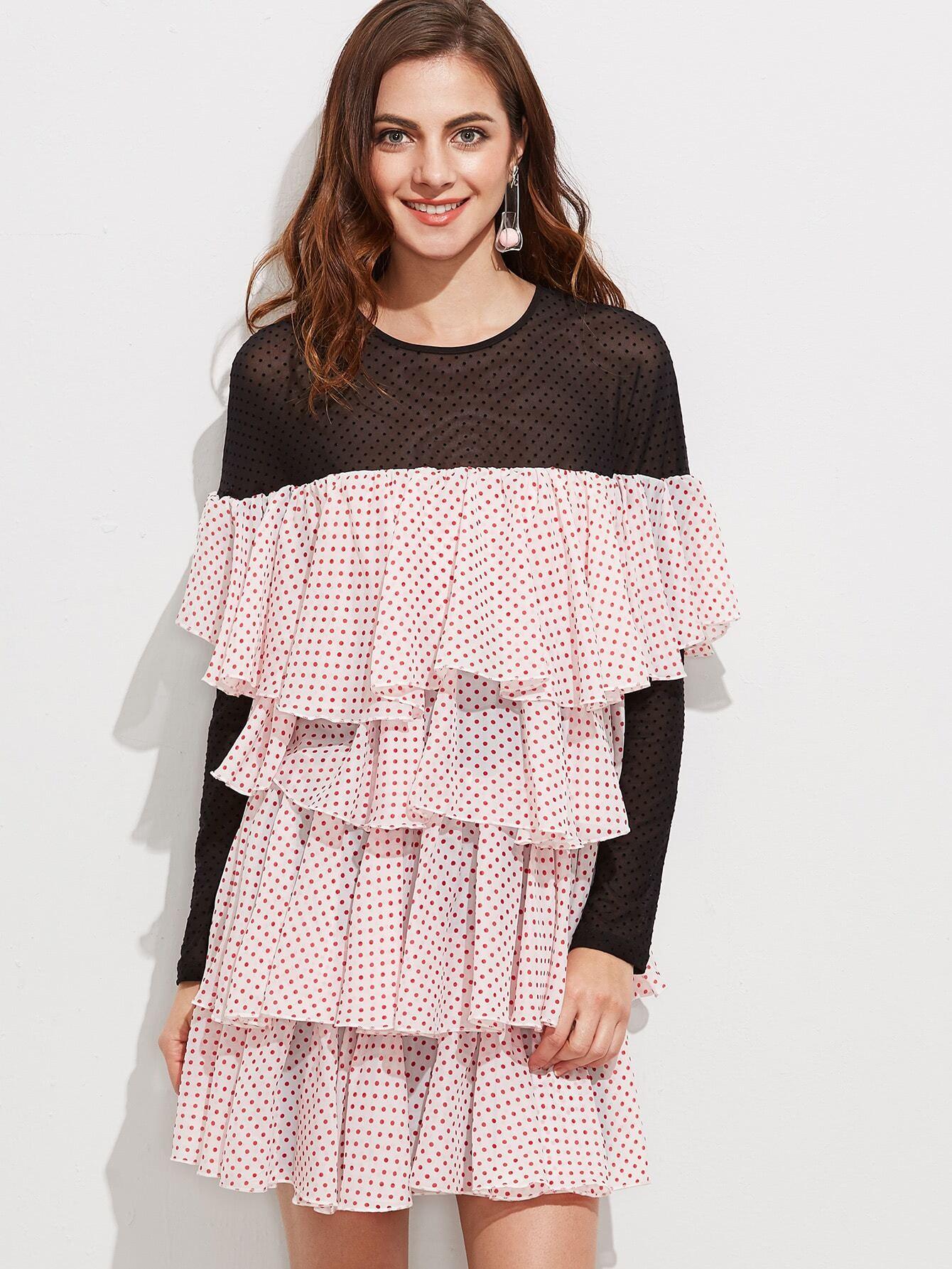 Contrast Sheer Shoulder And Sleeve Polka Dot Layered Ruffle Dress burgundy contrast sheer neck layered sleeve ruffle dress