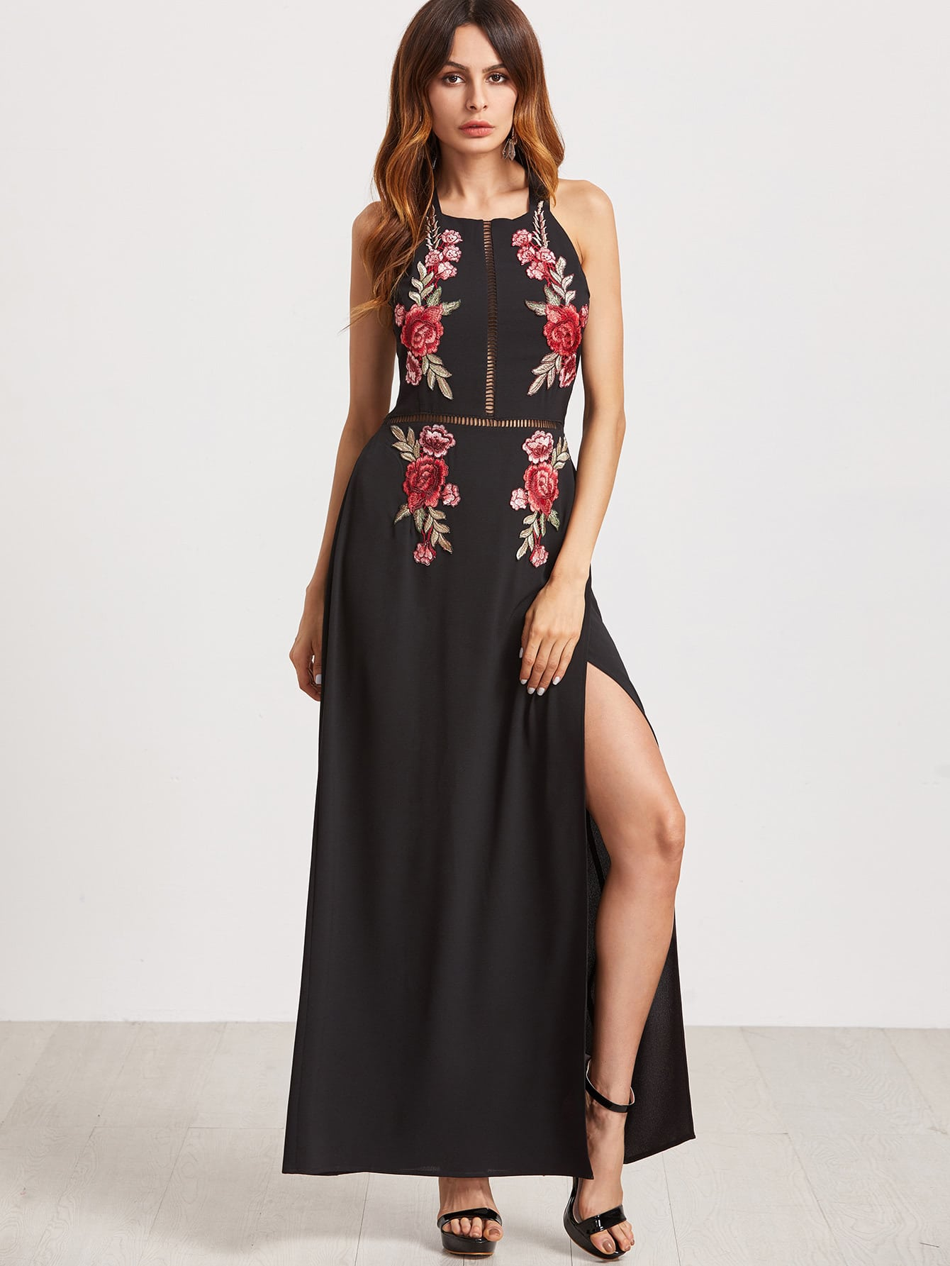 Embroidered Rose Applique Tied Open Back High Slit Dress embroidered rose applique side split belt dress