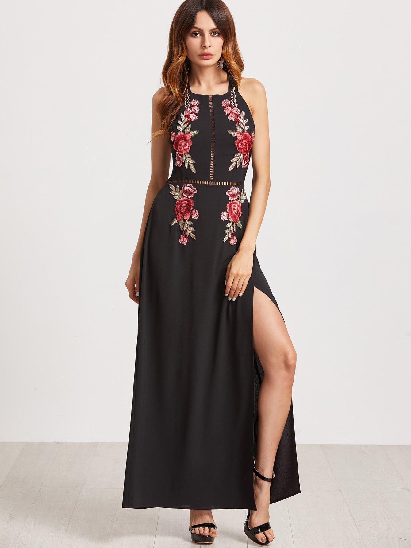 Embroidered Rose Applique Tied Open Back High Slit Dress