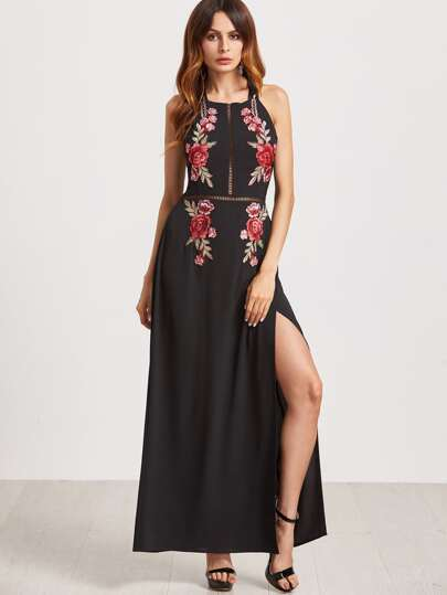 Embroidered Rose Applique Tied Open Back High Slit Dress