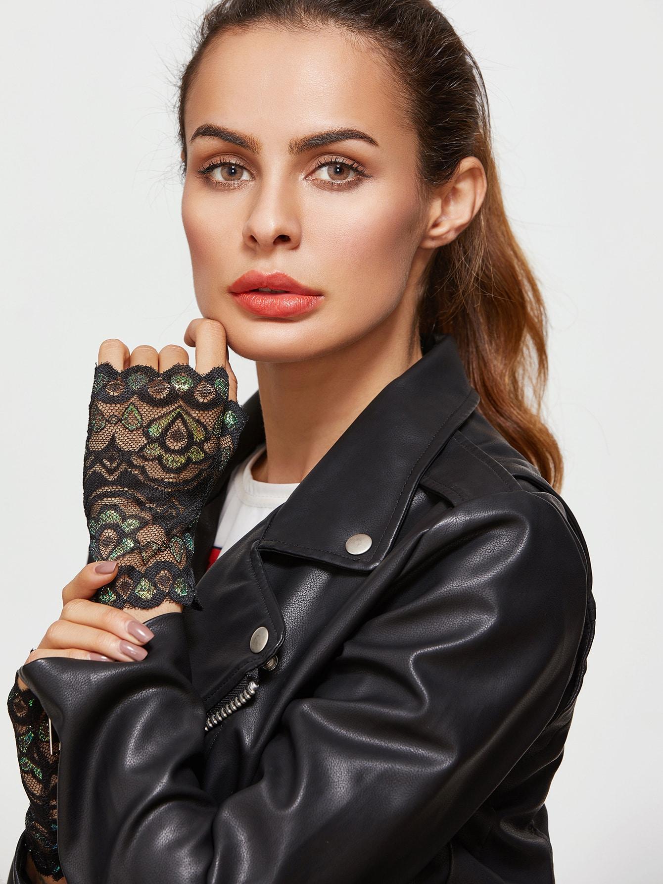 Black Half-finger Floral Lace Gloves