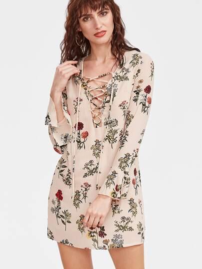 Бежевое модное платье со шнуровкой и цветочным принтом