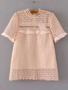 Light Pink Crochet Design Hollow Out Top