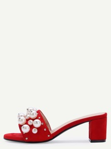 Red Open Toe Pearl Embellished Slippers