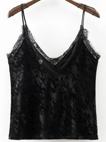 Black Lace Trim Velvet Cami Top
