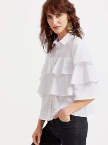White 3/4 Sleeve Layered Ruffle Blouse