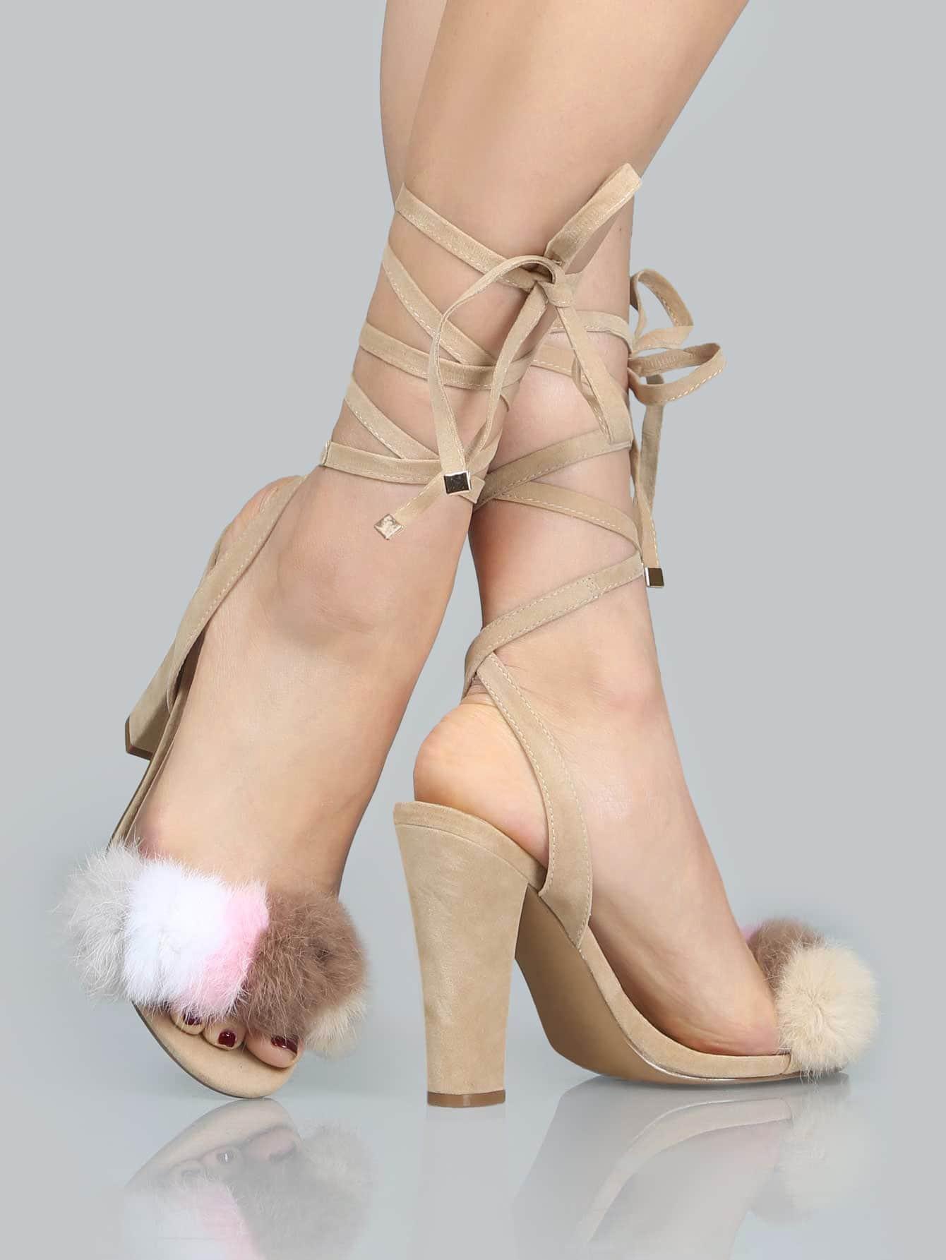 Фото Multi Color Faux Fur Wrap Heels NUDE. Купить с доставкой