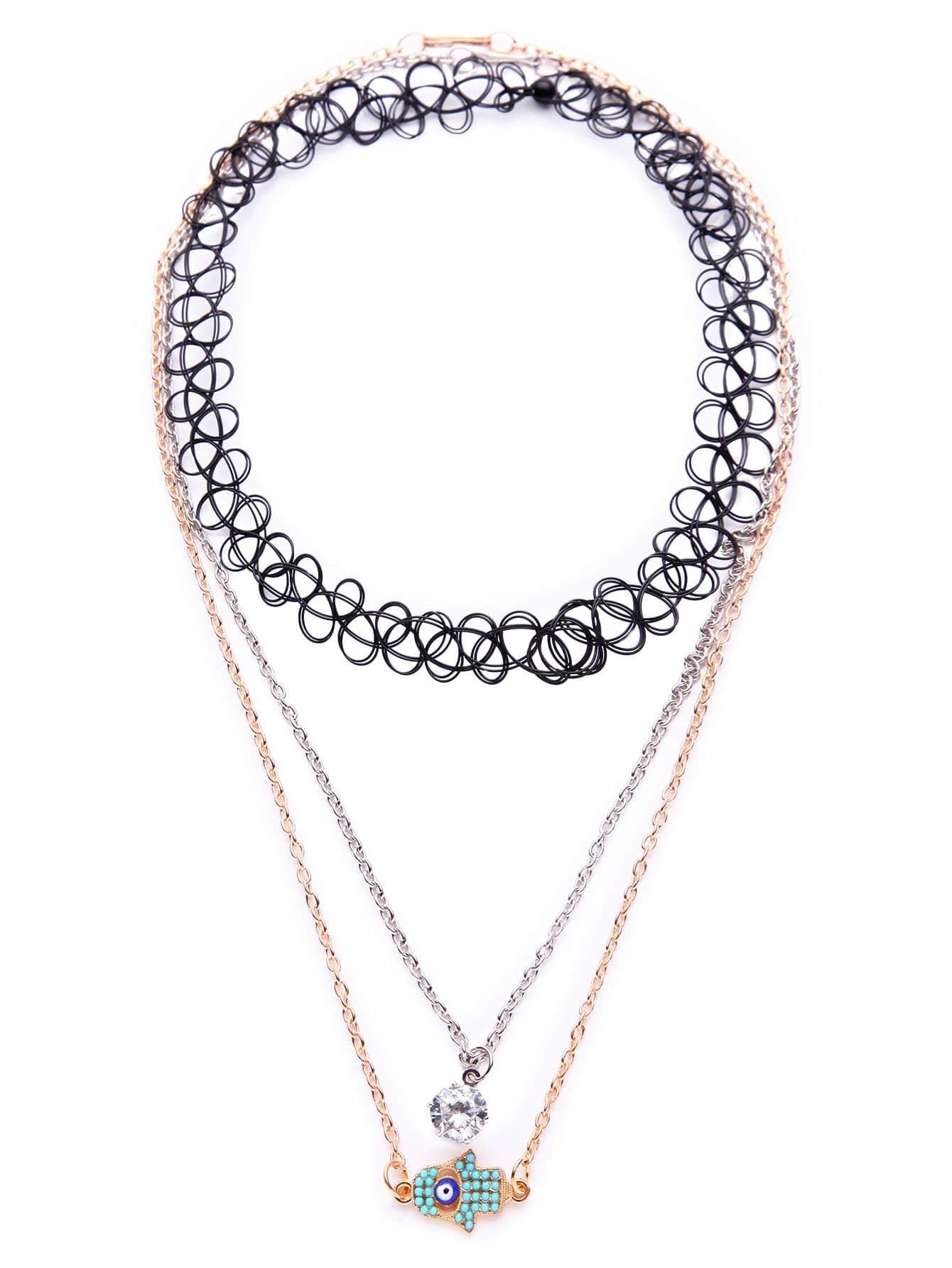 Фото Multicolor Layered Charm Pendant Boho Necklace. Купить с доставкой