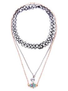 Multicolor Layered Charm Pendant Boho Necklace