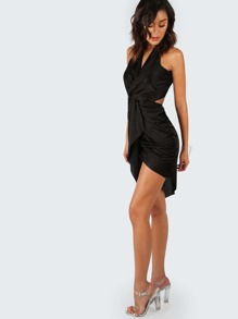 Low Back Twist Knot Dress BLACK