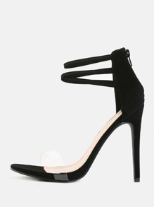 Transparent Strap Stilettos BLACK