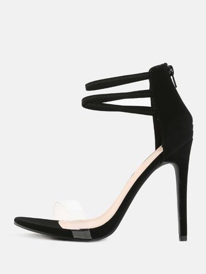 Transparent Strap Stilettos BLACK