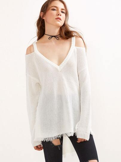 Cold Shoulder Waffle Knit High Low Sweater