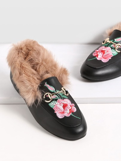 Black Rose Embroidered PU Fur Trim Loafer Shoes