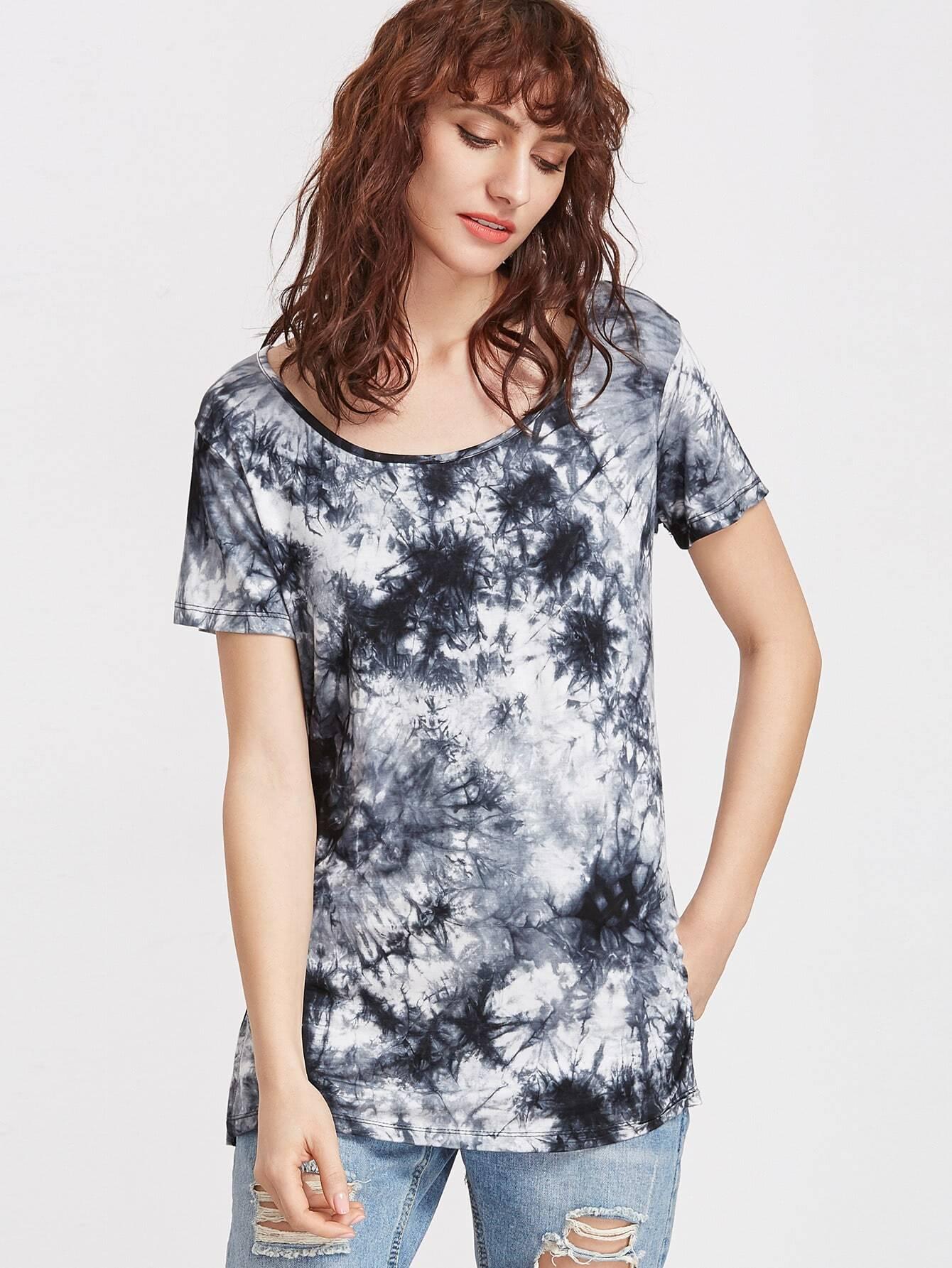 Фото Tie Dye Print Side Slit T-shirt. Купить с доставкой