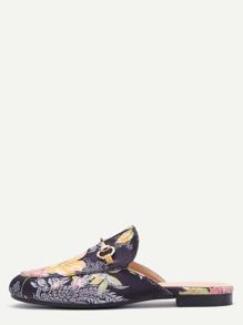 Pantuflas de satén con bordado floral - negro