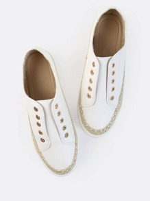 Tweed Laceless Round Toe Sneakers WHITE
