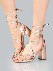 Metallic Wrap Block Heels ROSE GOLD