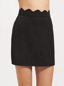 Black Scallop Waist A Line Skirt