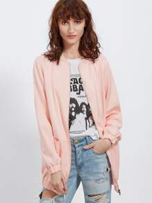 Pink Stand Collar Cut And Sew Zip Up Bomber Jacket