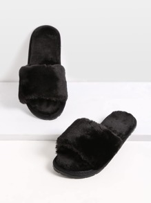 Pantuflas de piel sintética - negro