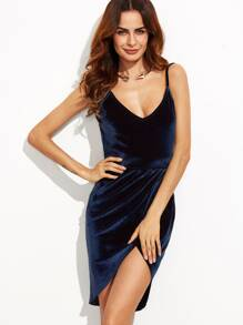Navy Backless Ruched Velvet Wrap Cami Dress