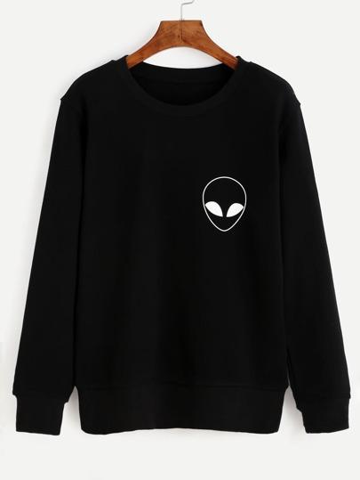 Sudadera manga larga estampado extraterrestre - negro