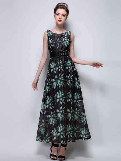 Тёмно-зелёное модное платье с цветочным принтом