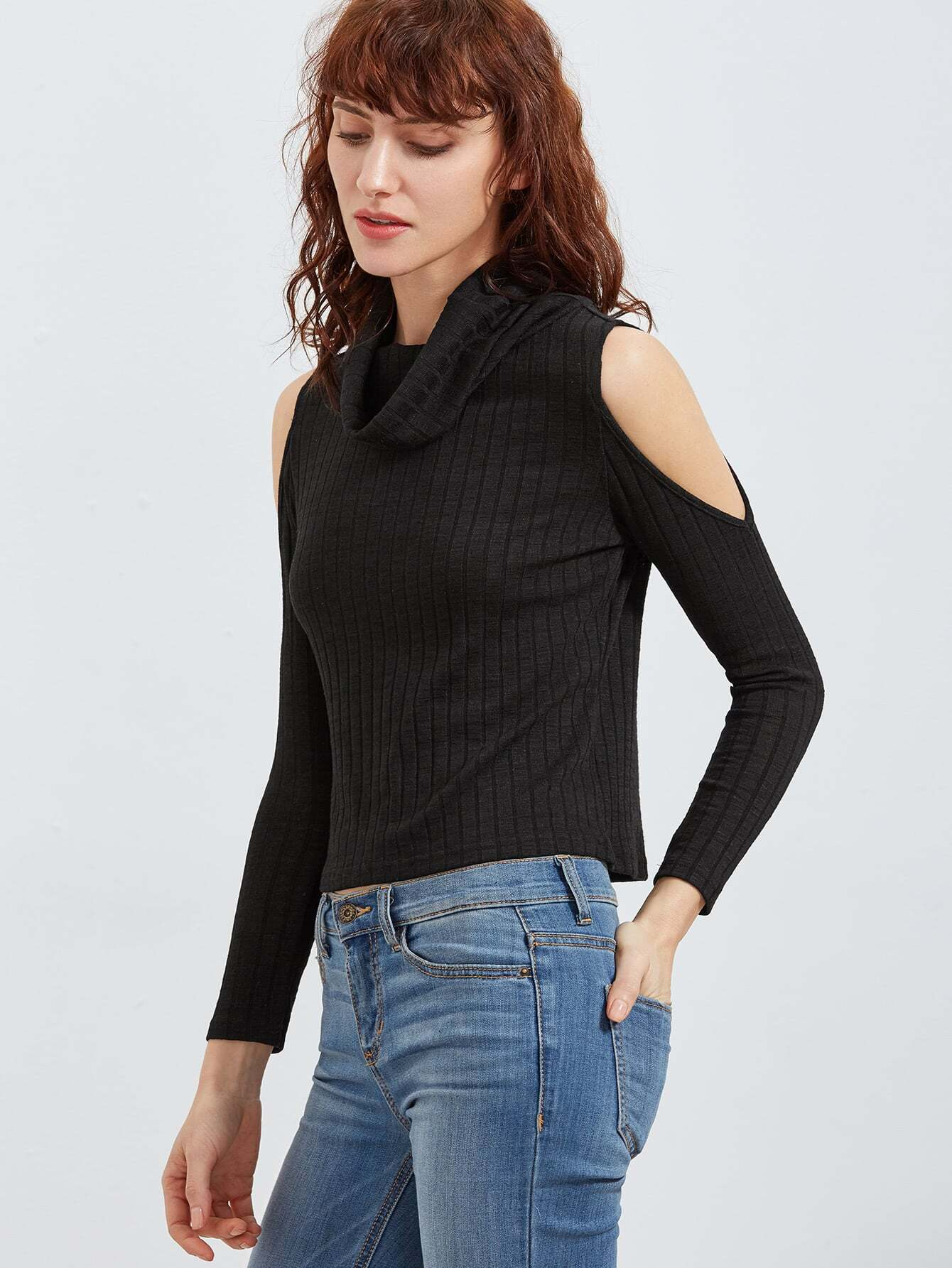 Cowl Neck Open Shoulder Ribbed Knit T-shirt  цена и фото