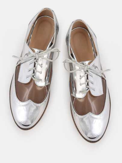 Almond Toe Metallic Clear Oxfords SILVER