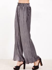 Grey Frilled Waist And Hem Wide Leg Pleated Velvet Pants