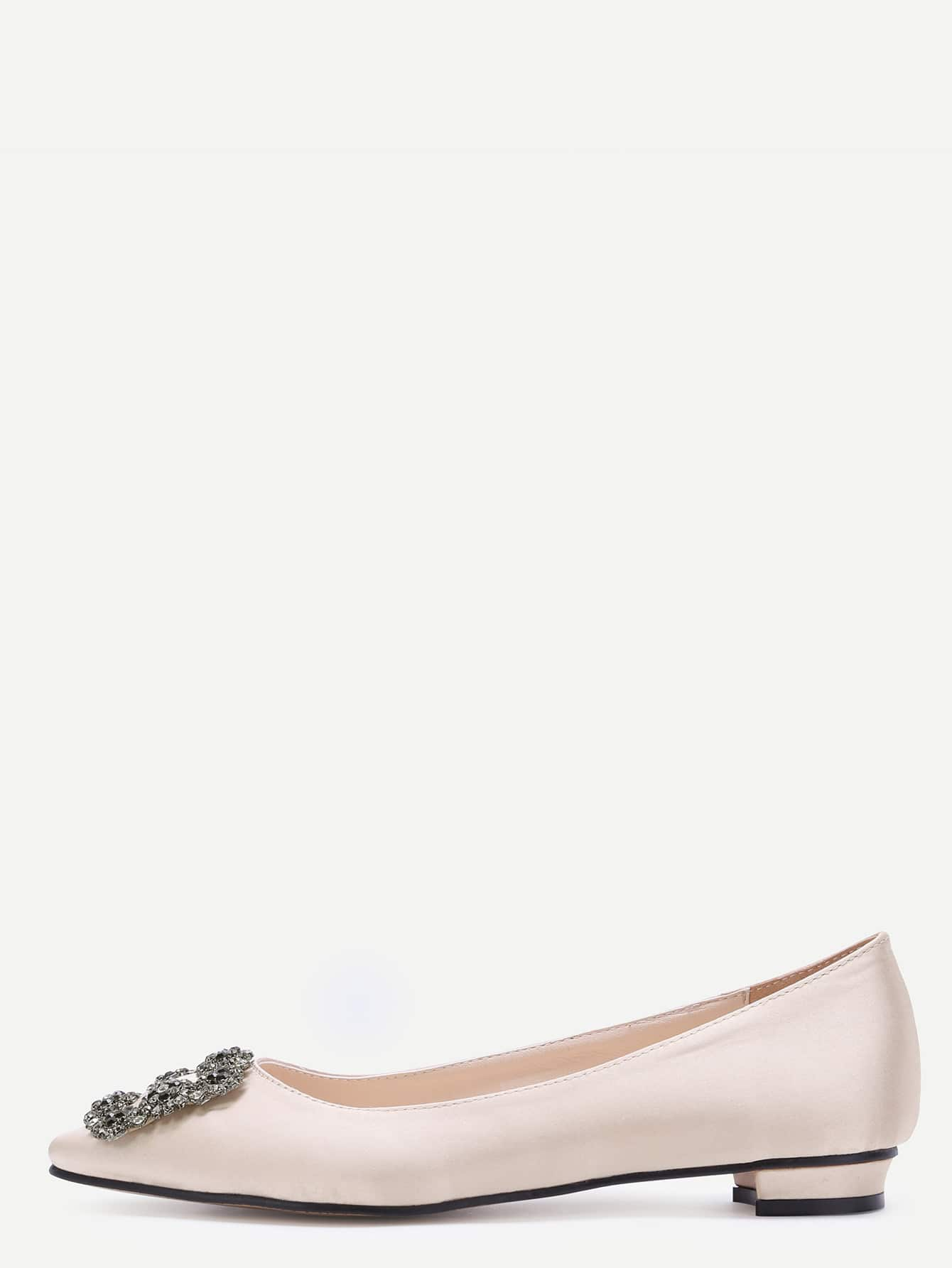 Nude Glitter Satin Rhinestone Pointed Ballet Flats shoes170104806