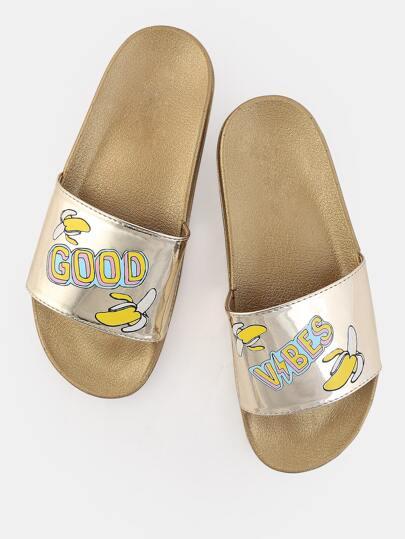 Good Vibes Printed Slide Sandals GOLD