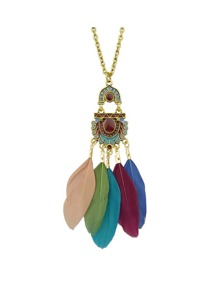 Colorful Feather Long Pendant Necklaces